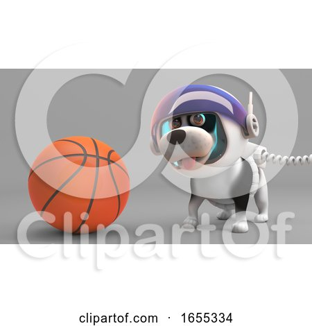 Sport Loving Puppy Dog in Spacesuit Plays with a Basketball Posters, Art Prints