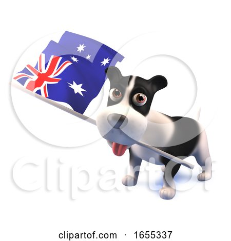 Cool Puppy Dog Holds the Australian Flag Posters, Art Prints