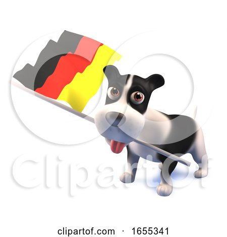 Cool Puppy Dog Holds the German Flag Posters, Art Prints