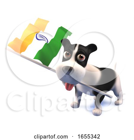 Cool Puppy Dog Holds the Indian Flag Posters, Art Prints
