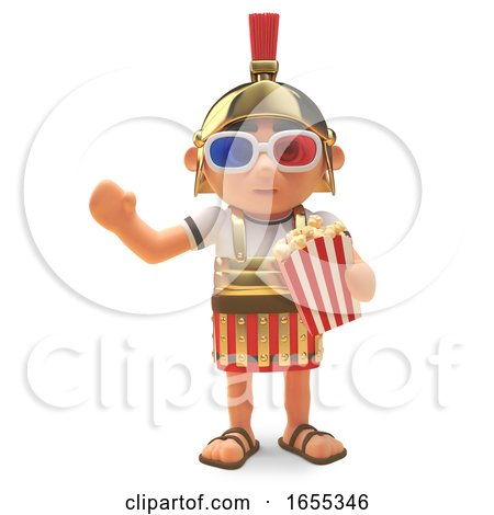 Noble Roman Centurion Soldier at Cinema Wearing 3d Glasses Eating Popcorn by Steve Young