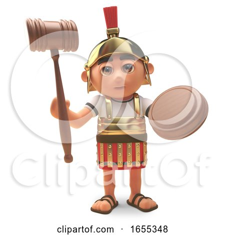Roman Centurion Soldier Holding an Auction Gavel by Steve Young