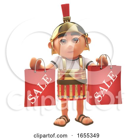 Roman Centurion Soldier Has Been to the Sales and Has Shopping Bags by Steve Young