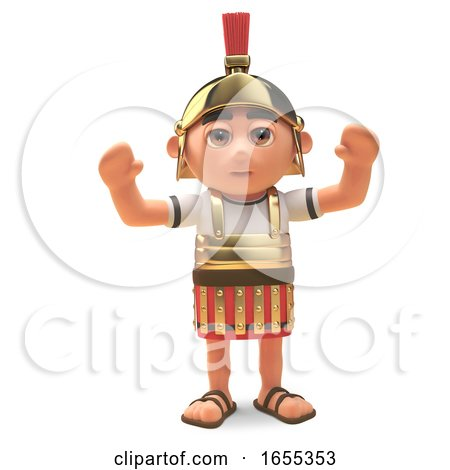 Cheering Roman Centurion Soldier with Arms in the Air by Steve Young
