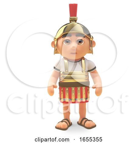 Disciplined Roman Centurion Soldier Stands to Attention by Steve Young