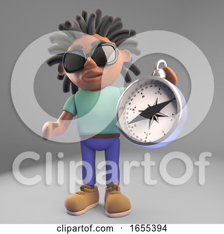 Nvigationally Minded Black Man with Dreadlocks Holding a Compass by Steve Young