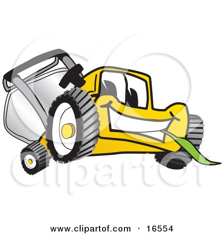 Yellow Lawn Mower Mascot Cartoon Character Facing Front and Chewing on a Blade of Grass Posters, Art Prints