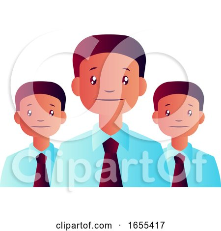 Vector Illustration of Three Man with Ties on White Background by Morphart Creations