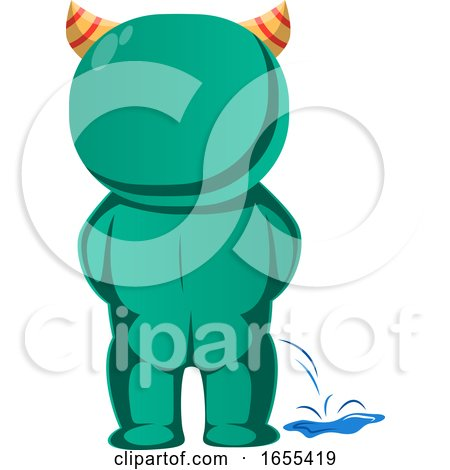 Green Monster with Horns Peeing Vector Illustration by Morphart Creations