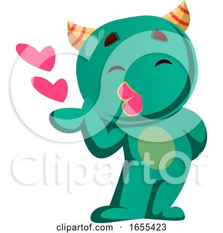 Green Monster Sending Kisses Vector Illustration Posters, Art Prints