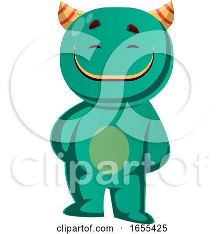 Vector Illustration of a Green Monster That Is Satisfied by Morphart Creations