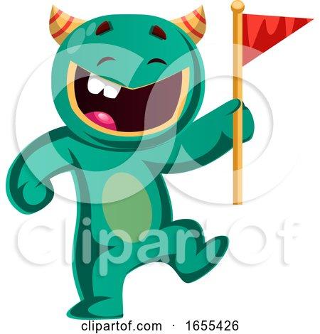 Green Monster Holding a Flag Vector Illustration by Morphart Creations