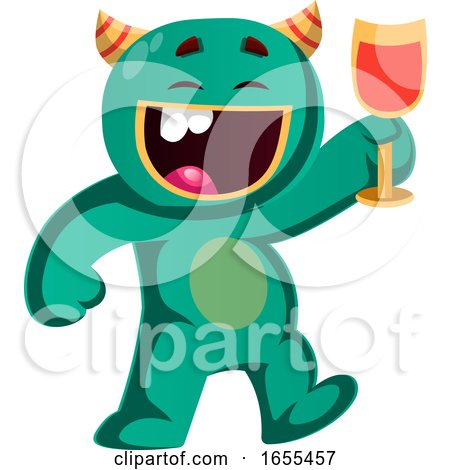 Green Monster Holding a Glass Cheering Vector Illustration by Morphart Creations