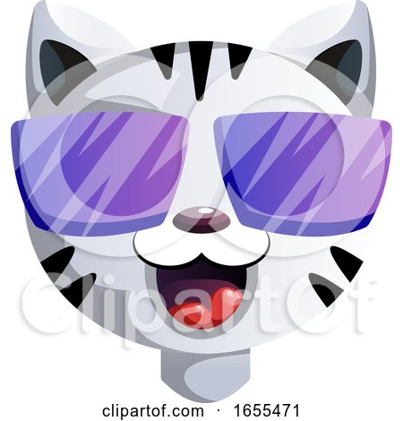 Happy Cartoon Act with Purple Sunglasses Vector Illustration by Morphart Creations