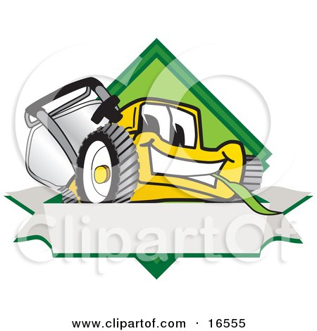Yellow Lawn Mower Mascot Cartoon Character Facing Front on a Diamond Shaped Logo With a Blank White Banner Posters, Art Prints