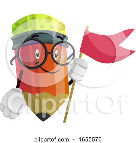 Red Flag in Red Pencils Hands Illustration Vector by Morphart Creations