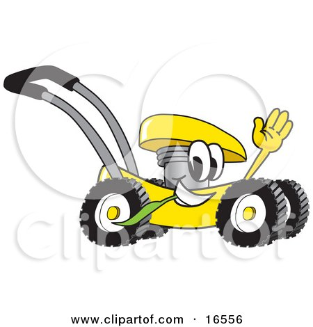 Yellow Lawn Mower Mascot Cartoon Character Passing by and Waving Posters, Art Prints