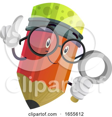Red Pencil Looking at Something with a Magnifier Illustration Vector by Morphart Creations