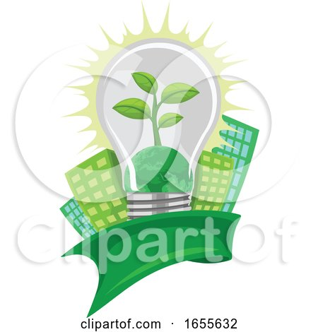 Vector of Green Leaf and Earth in Lightbulb, in Front of Buildings by Morphart Creations
