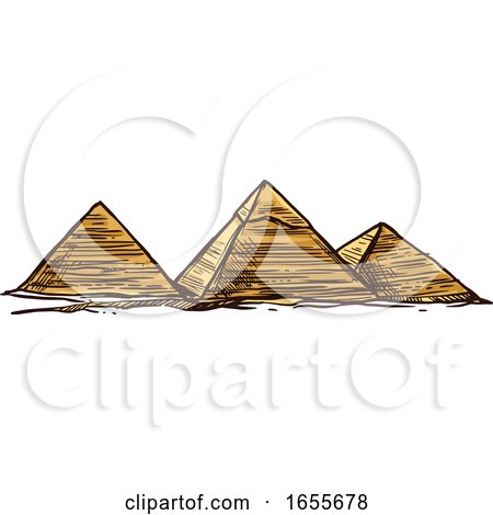 Sketched Egyptian Pyramids by Vector Tradition SM