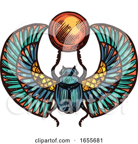 Sketched Egyptian Scarab Beetle by Vector Tradition SM