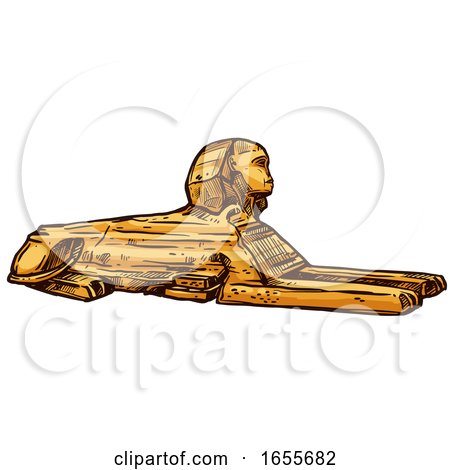 Sketched Egyptian Great Sphinx of Giza by Vector Tradition SM