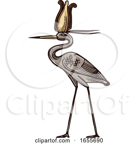 Sketched Egyptian Heron by Vector Tradition SM