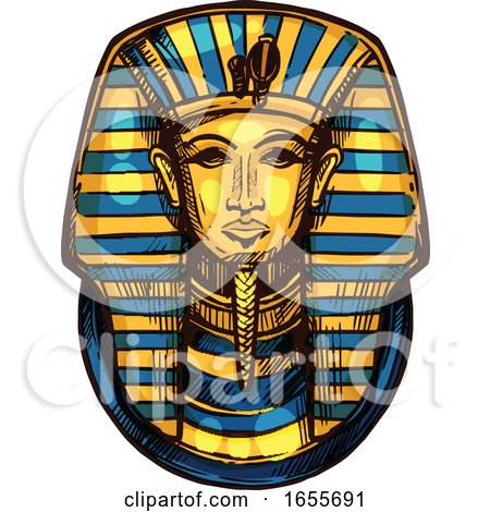 Sketched Egyptian Pharaoh Mask by Vector Tradition SM