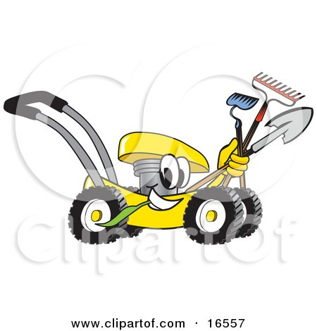 Clipart Picture of a Yellow Lawn Mower Mascot Cartoon Character Passing by and Carrying Gardening Tools by Toons4Biz