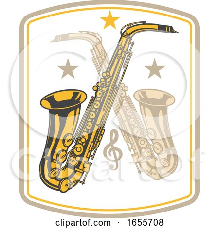 Crossed Saxophones by Vector Tradition SM