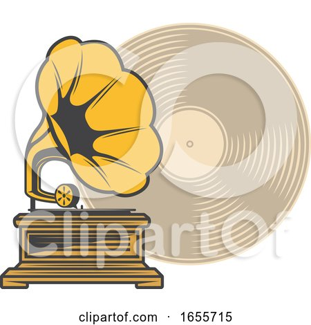 Gramophone and Record by Vector Tradition SM