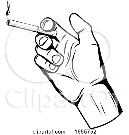 Black and White Hand Holding a Cigarette by Vector Tradition SM