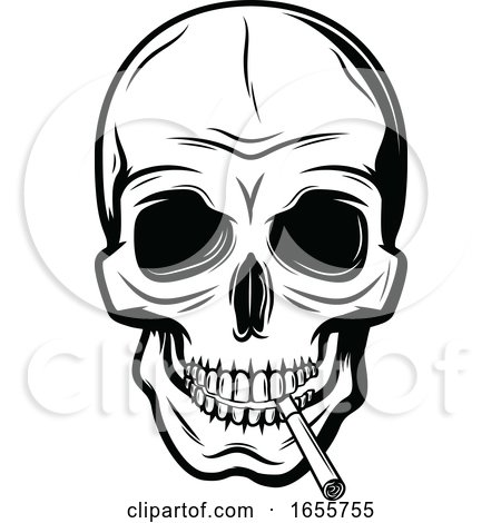 Black and White Skull Smoking a Cigarette Posters, Art Prints