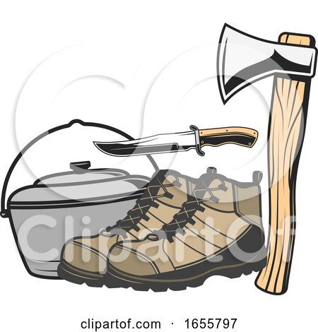 Pot with Hiking Boots a Knife and Axe by Vector Tradition SM