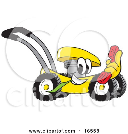 Yellow Lawn Mower Mascot Cartoon Character Passing by With a Red Telephone Posters, Art Prints