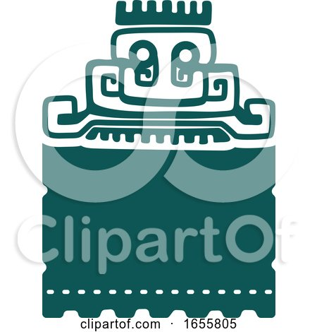 Teal Mayan Aztec Hieroglyph Art of a Pyramid or Face by Vector Tradition SM