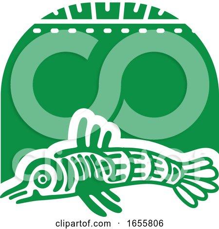 Green Mayan Aztec Hieroglyph Art of a Fish by Vector Tradition SM
