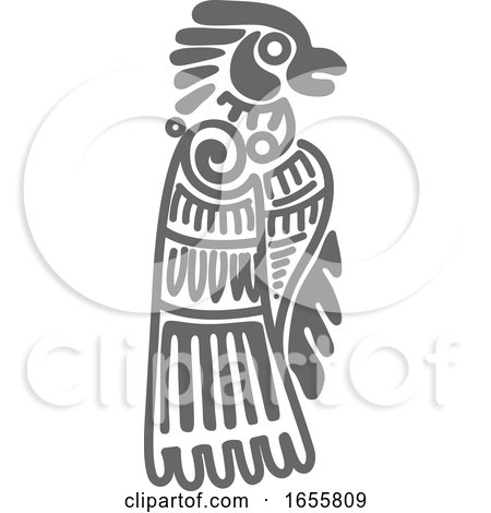 Gray Mayan Aztec Hieroglyph Art of an Eagle by Vector Tradition SM