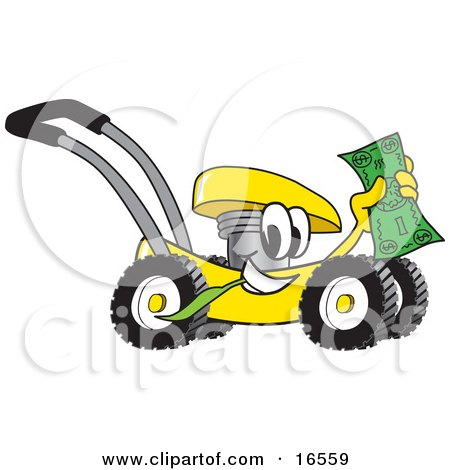 Yellow Lawn Mower Mascot Cartoon Character Passing by and Waving Cash in the Air Posters, Art Prints