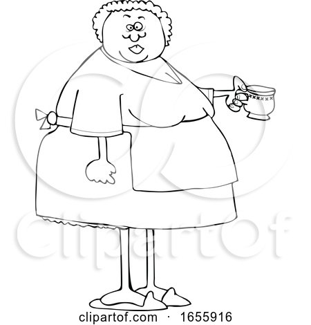 Cartoon Lineart Woman Wearing an Apron and Holding a Tea Cup Posters, Art Prints