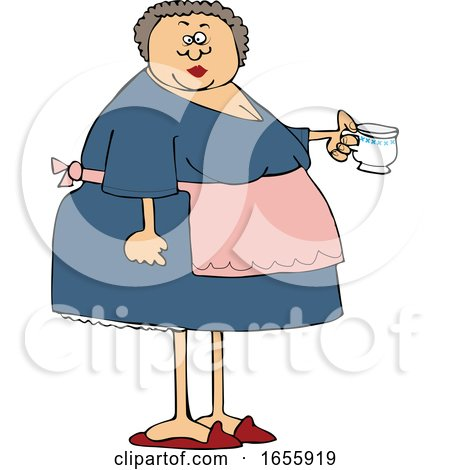 Cartoon Woman Wearing an Apron and Holding a Tea Cup Posters, Art Prints