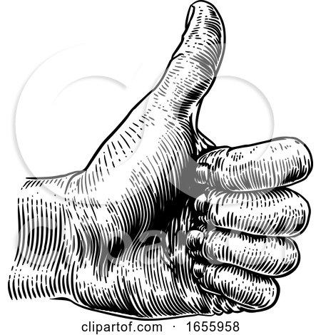 Thumb up Hand Sign Retro Vintage Woodcut by AtStockIllustration