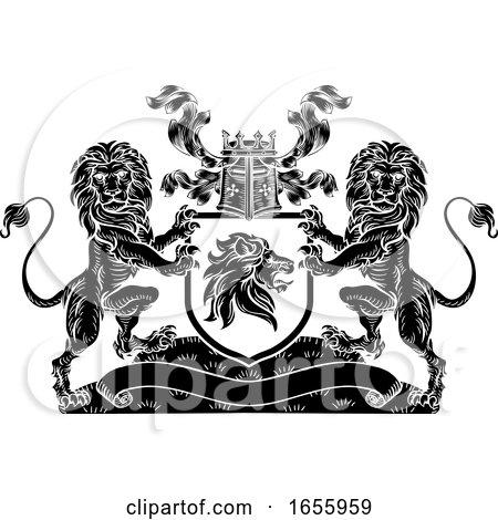 Lion Heraldic Crest Coat of Arms Shield Emblem by AtStockIllustration