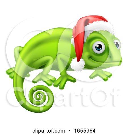 Chameleon at Christmas in Santa Hat Cartoon by AtStockIllustration