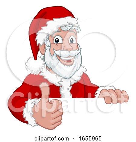 Young Santa Sign Thumbs up Christmas Cartoon by AtStockIllustration