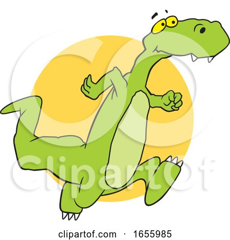 Cartoon Dinosaur Running over an Orange Circle by Johnny Sajem