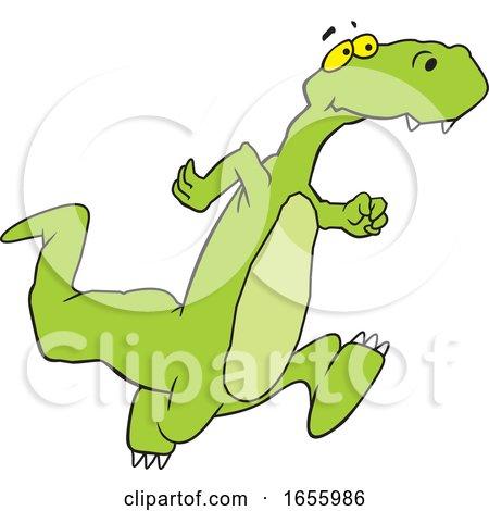 Cartoon Dinosaur Running by Johnny Sajem