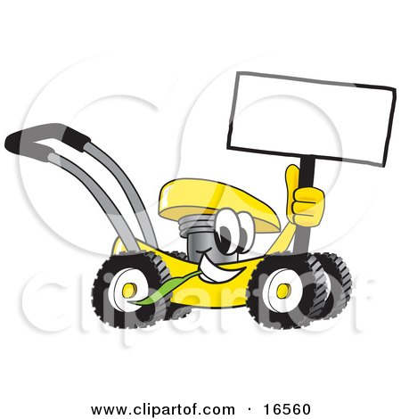 Yellow Lawn Mower Mascot Cartoon Character Passing by and Holding a Blank Sign Posters, Art Prints