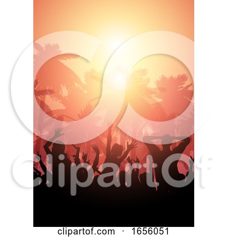 Party Crowd on a Summer Landscape Background by KJ Pargeter