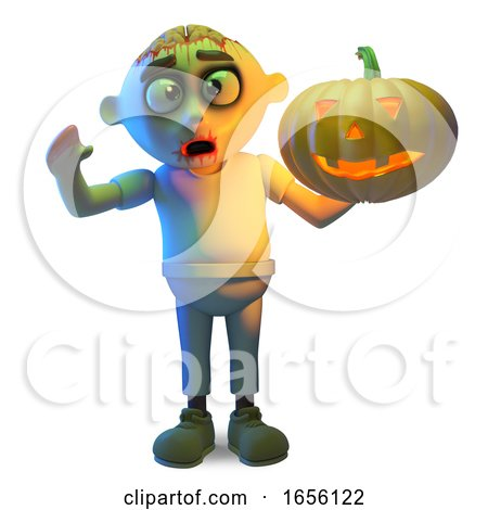 Scarey Zombie Monster Celebrates Halloween with a Pumpkin by Steve Young